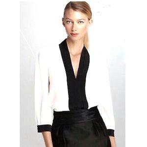 Kate Spade ColorBlock Ivory Black Silk Blouse 12